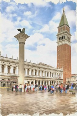 Piazza San Marco. Imitation of a picture. Oil paint. Illustration