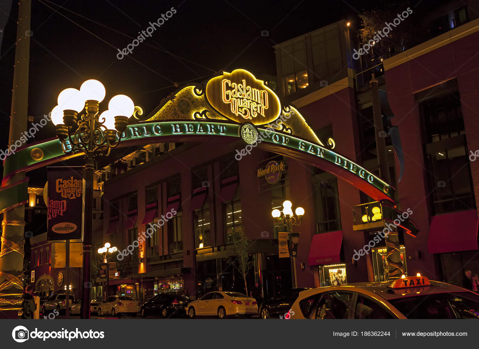 Entrance To The Gaslamp Quarter Of San Diego Stock