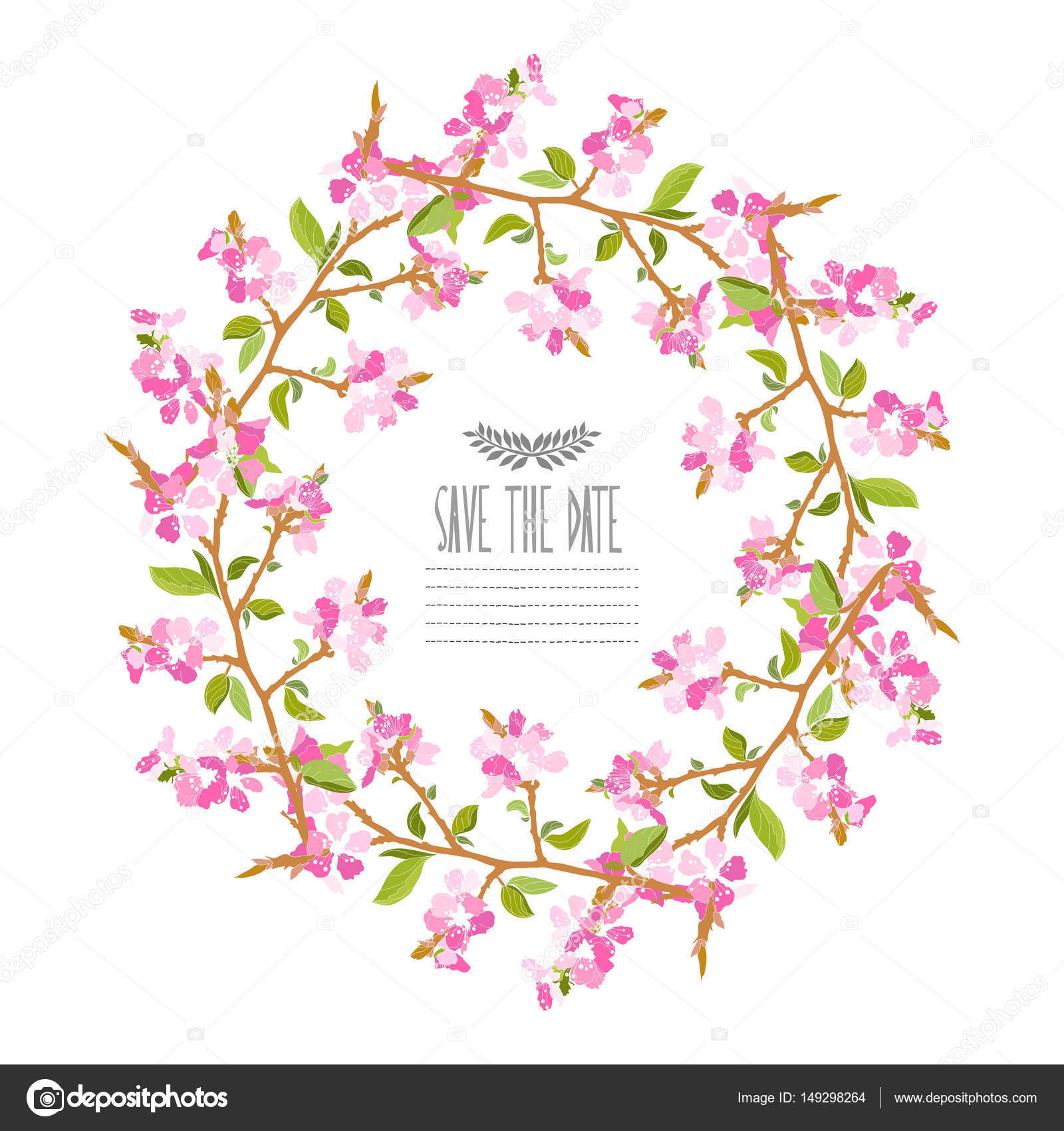 cherry blossom floral wreath — Stock Vector © Chantall #149298264