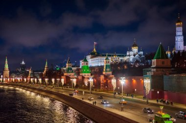 Moscow, Russia - January 03, 2020: View of the Moscow Kremlin, Moscow river and Kremlin embankment at the Christmas illuminations at night.