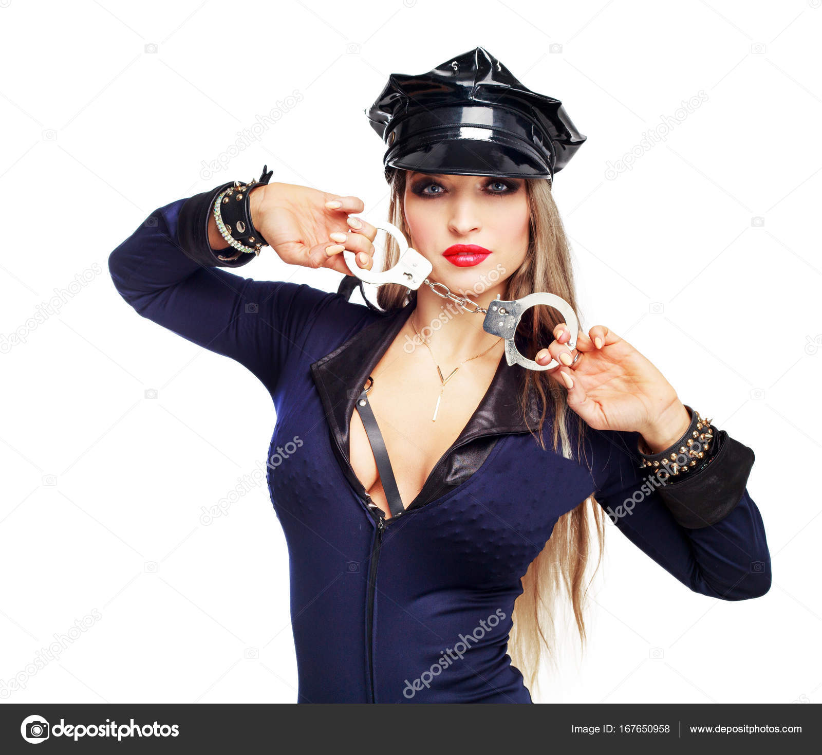 Superior Beautiful Striptease Dancer, Dressed As A Police Officer Holding Handcuffs  Isolated Against White Background U2014 Photo By ...