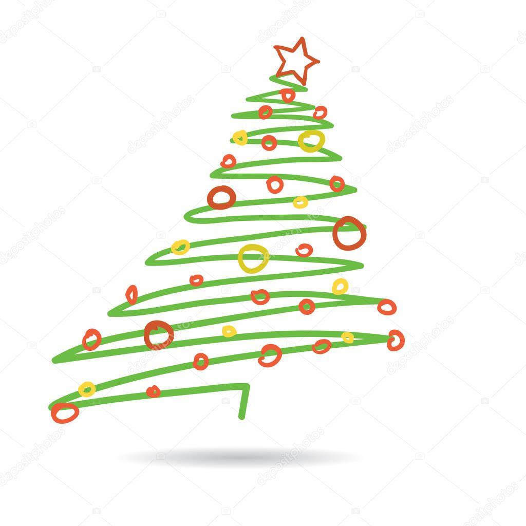 hand gezeichnet weihnachtsbaum isoliert auf wei em. Black Bedroom Furniture Sets. Home Design Ideas