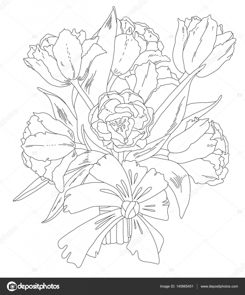Página para colorear - ramo de tulipanes, afición, arte-terapia ...