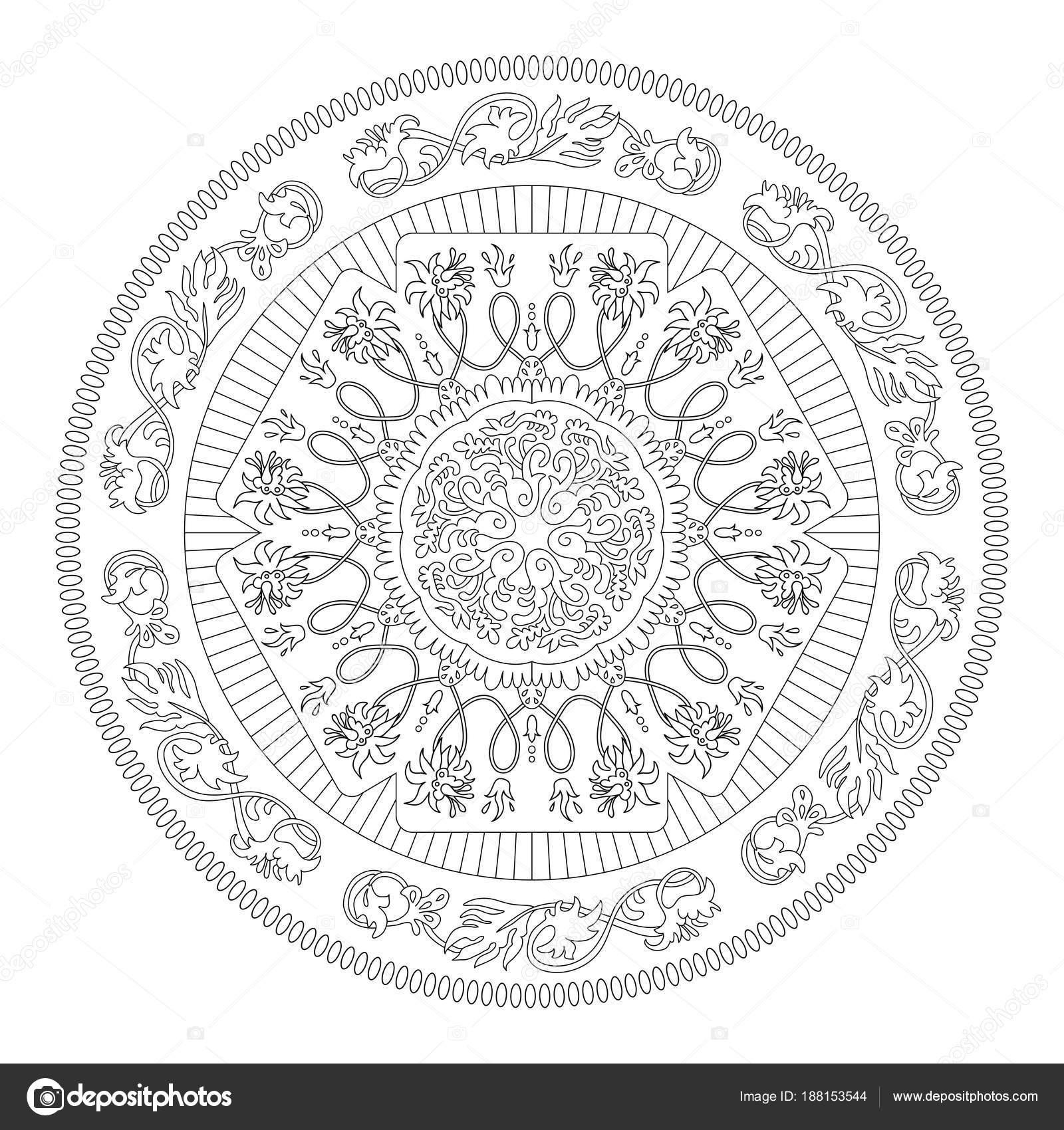 Mandala Coloring Page Art Therapy Meditation Stock Vector