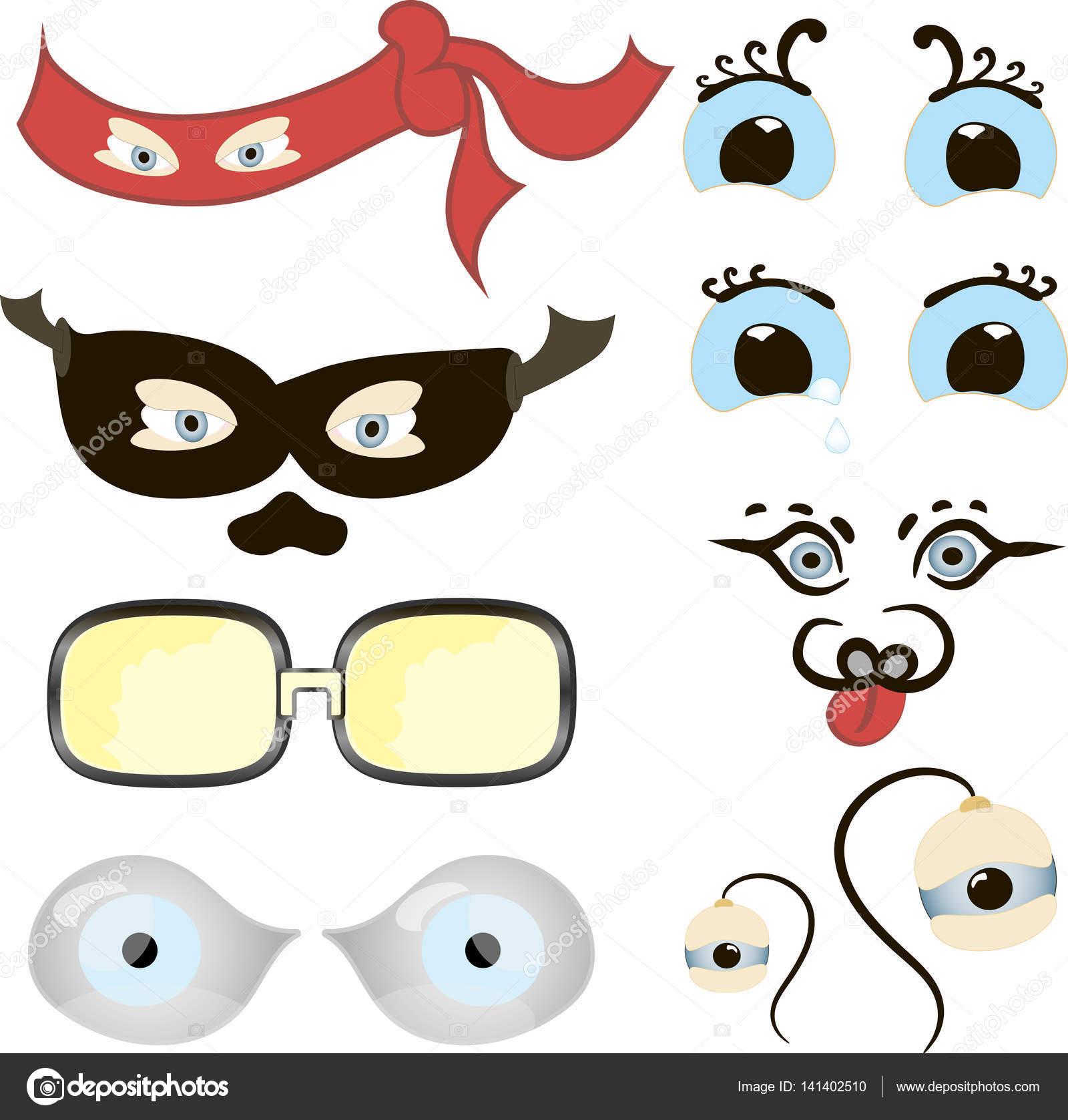 目設定漫画、面白いのセットのイラスト漫画の人間、動物、様々 な表現や