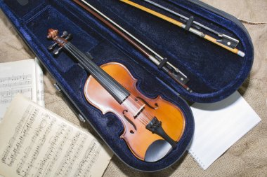 Violin neck on music papers background
