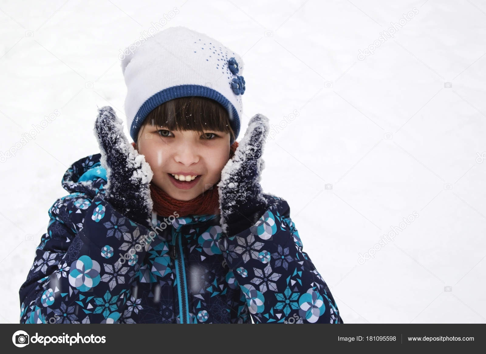 181dbcd1e715 cute little girl in warm hat and gloves and snow on white backgr ...