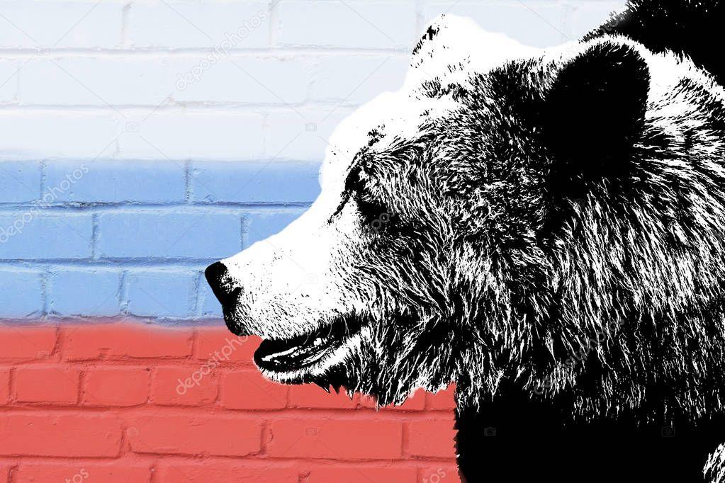 картинки русский медведь на фоне флага россии обстоятельства требуют, чтобы