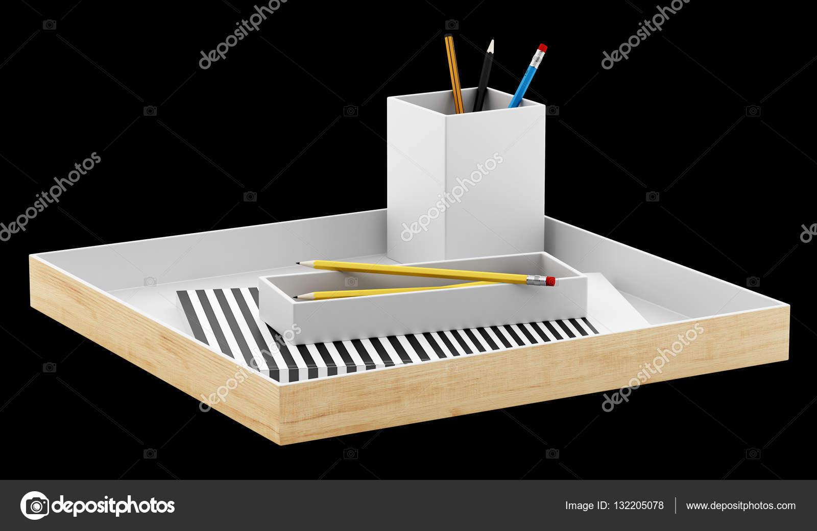 Organisateur de bureau marron avec bureau fournitures isolé sur