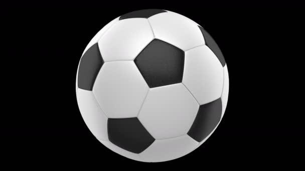 fotbalový míč smyčky otočit na černém pozadí