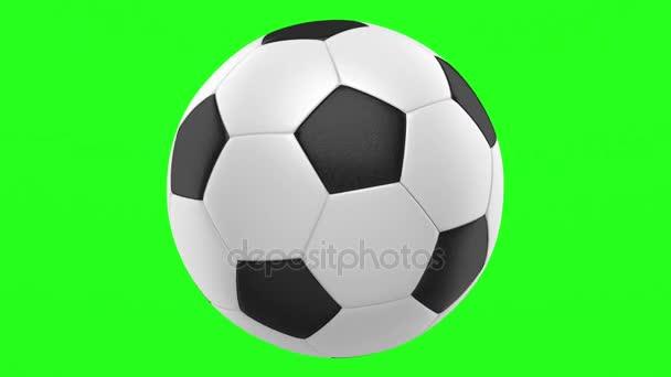 fotbalový míč smyčky otočit na pozadí zelených chromakey