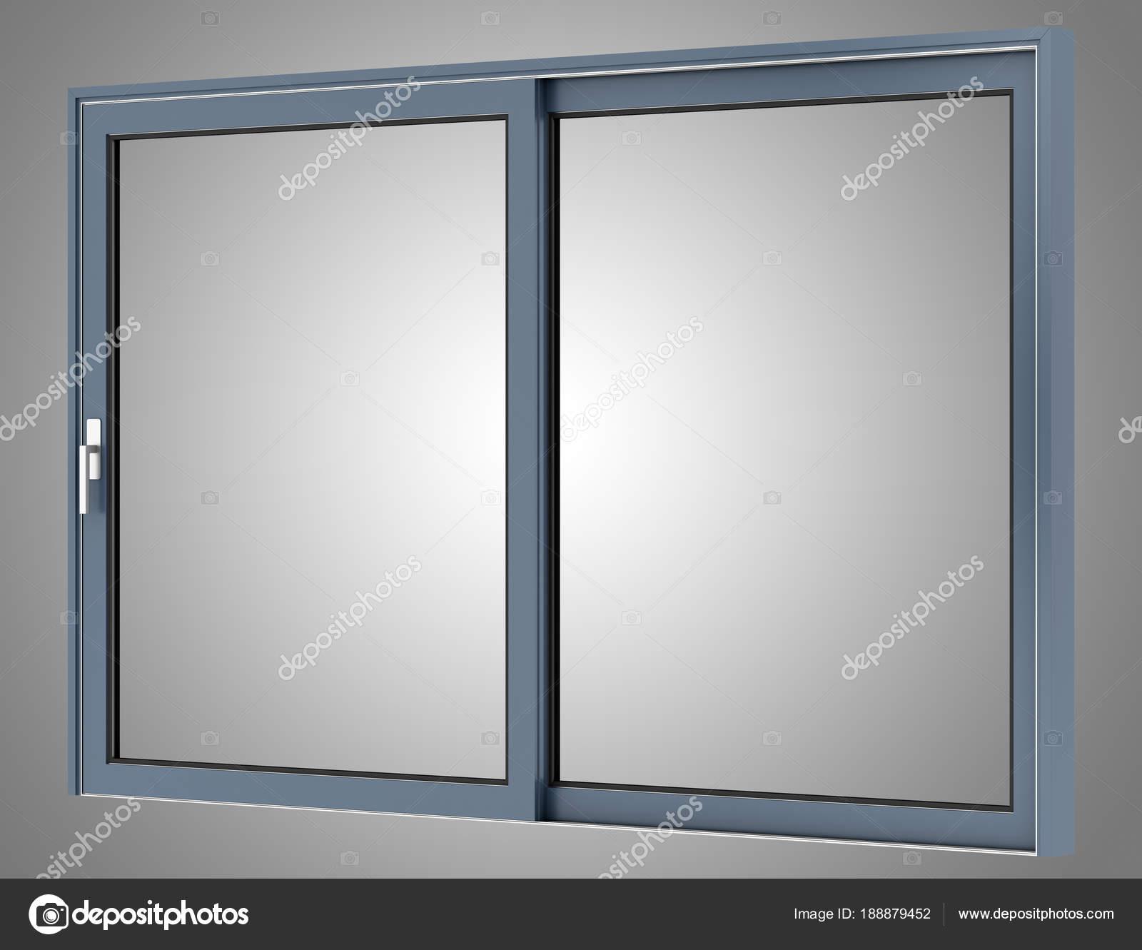 metallische Fenster isoliert auf grauem Hintergrund. 3D illustration ...