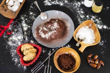 start making cake on a black table