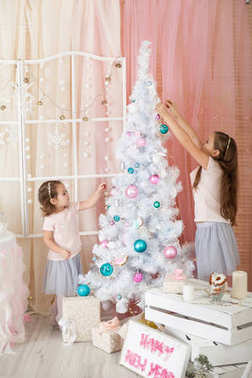 Two sisters in a Christmas decorations