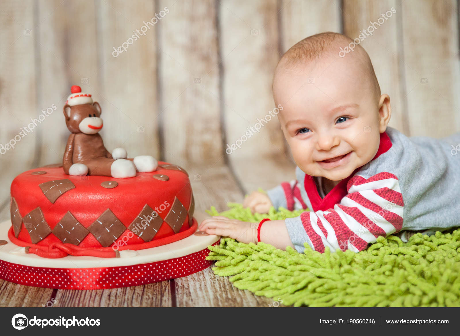 Mini Birthday With Sock Monkey Theme Cute 6 Months Baby Boy In A Costume Sweet Party Cake Photo By