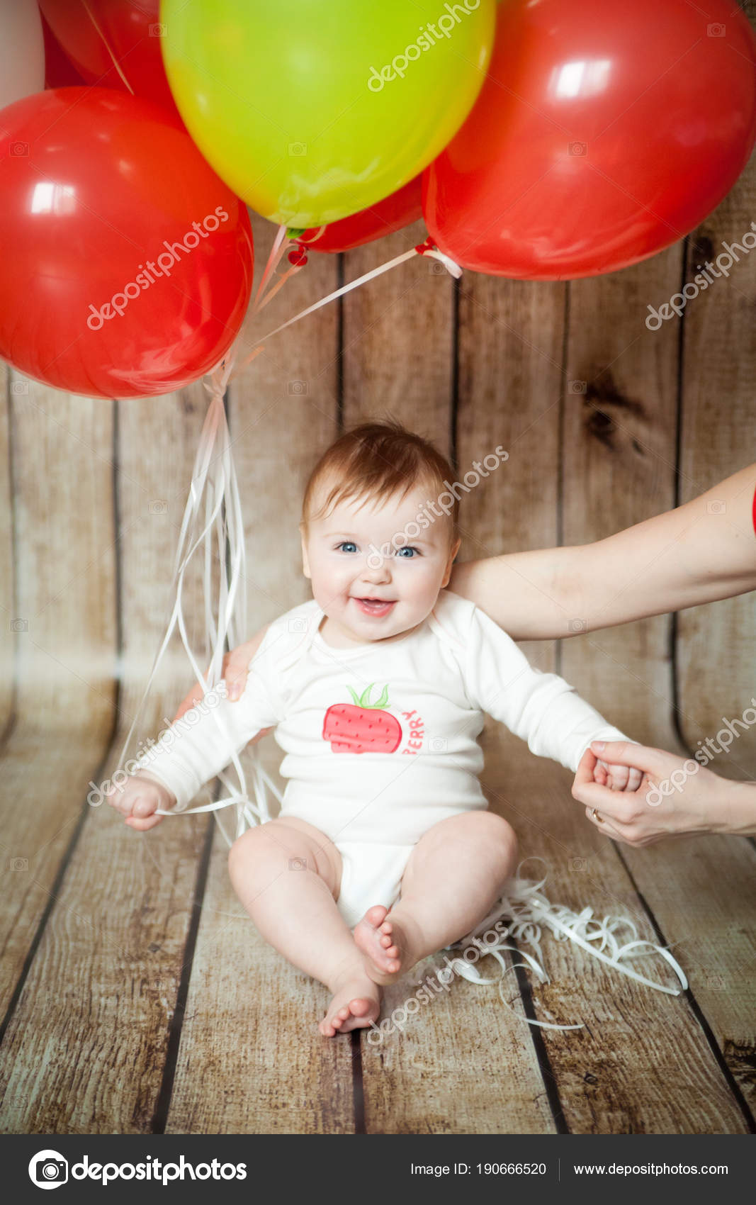 Mini Birthday With Strawberry Theme Cute 6 Months Baby Girl Colorful Balloons Photo By Gorchichko