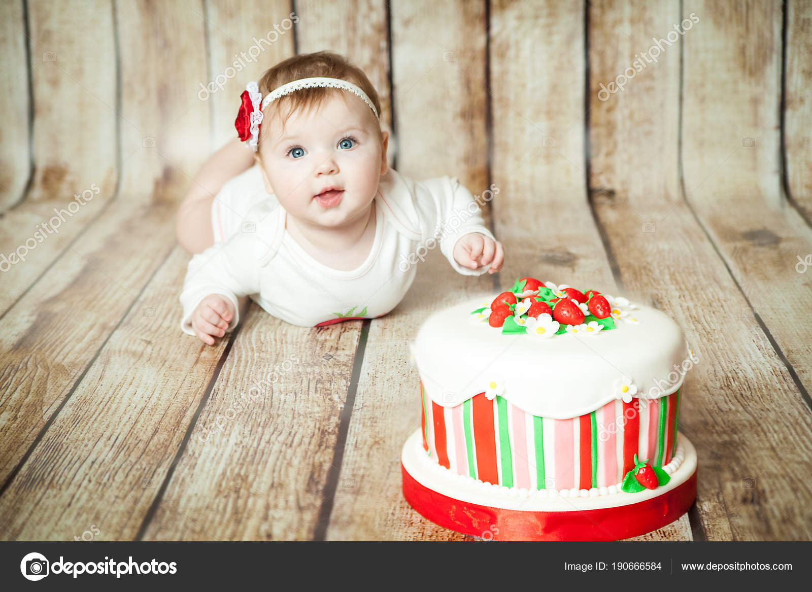 Mini Birthday With Strawberry Theme Cute 6 Months Baby Girl A Sweet Party Cake Photo By