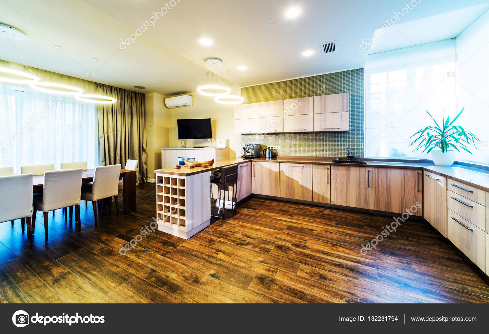 Interieur De Cuisine Moderne Et Lumineux Dans Une Maison De Luxe