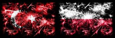 """Картина, постер, плакат, фотообои """"Турция, Турция против Польши, празднование Нового года в Польше, фейерверки. Сочетание двух государственных флагов. """", артикул 320920864"""