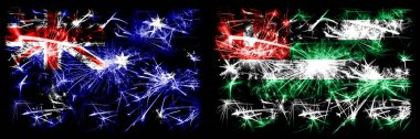Australia, Ozzie vs Abkhazia, Abkhazian New Year celebration sparkling fireworks flags concept background. Combination of two abstract states flags.