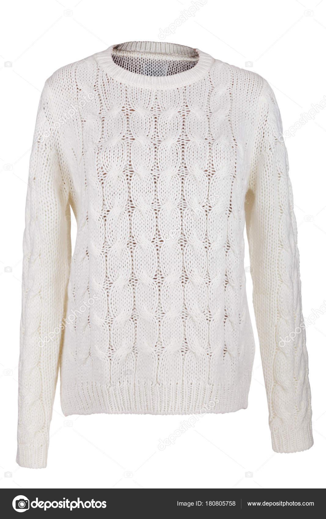 e89f624e7194 Λευκό πλεκτό πουλόβερ που απομονώνονται σε λευκό φόντο — Εικόνα από ...