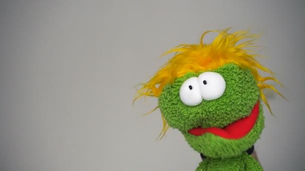 Funny zelená loutka s legrační obličej