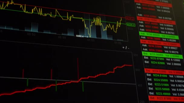 Graf a grafy kryptografické měny na obrazovce obchodování