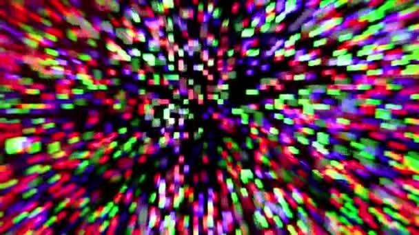 Přiblížení digitální barevné částice pohybující se ve fotoaparátu