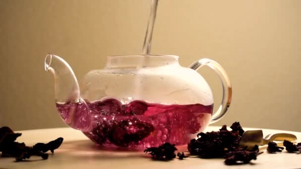 Red carcade tea in few footages. Fast brewing