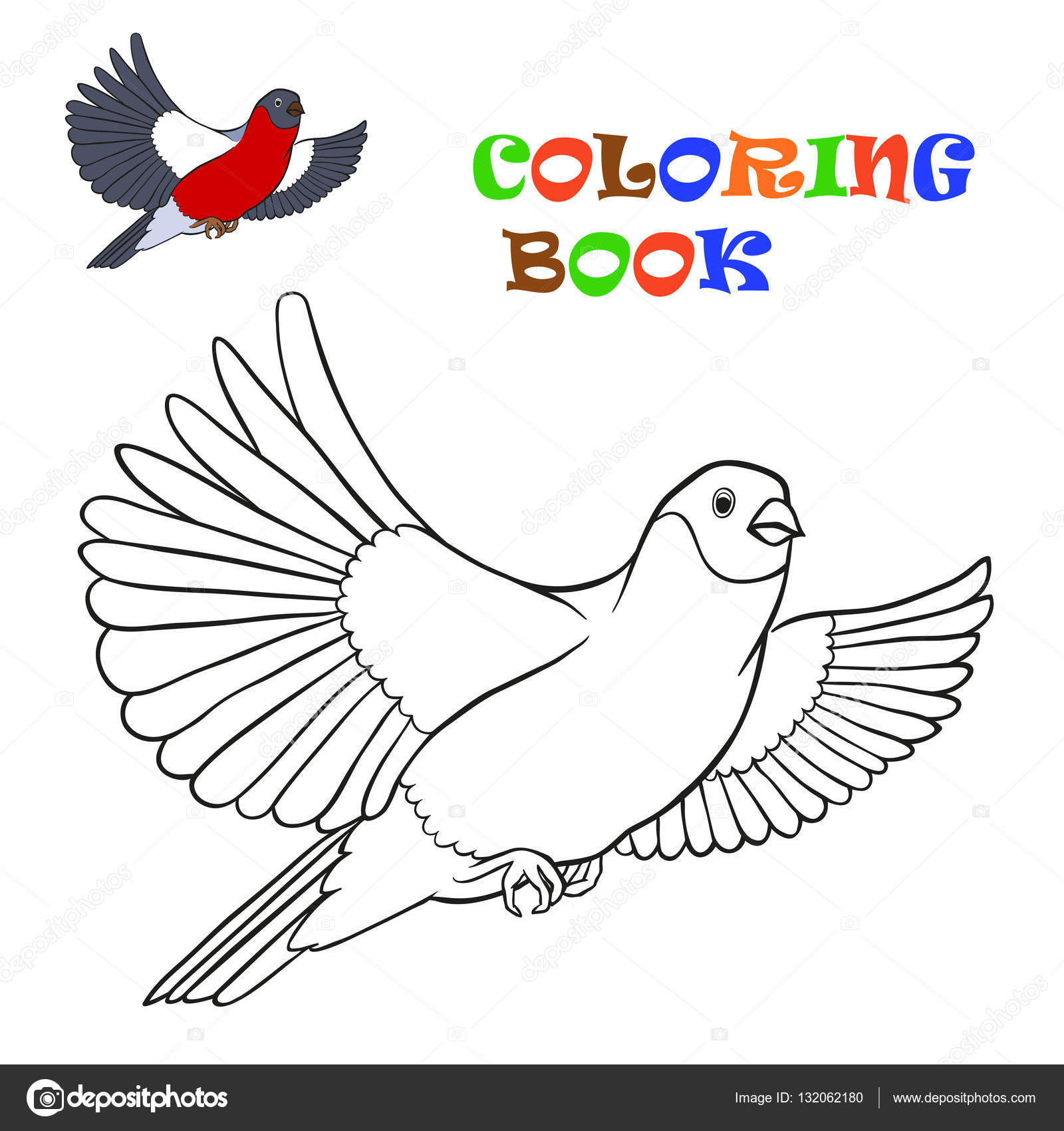 Uçan şakrak Kuşu Boyama Kitabı Stok Vektör Bruce29 132062180