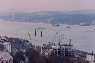 view to the Bosphorus during the foggy day