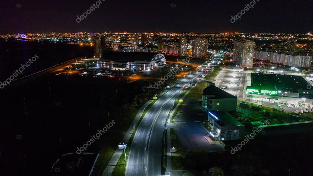 Khabarovsk night view of the city district Erofey arena