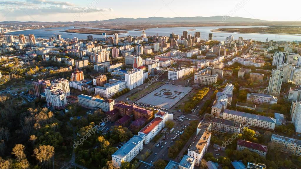 Khabarovsks main square of Khabarovsk, Lenin Square . the view from the top. filmed with a drone
