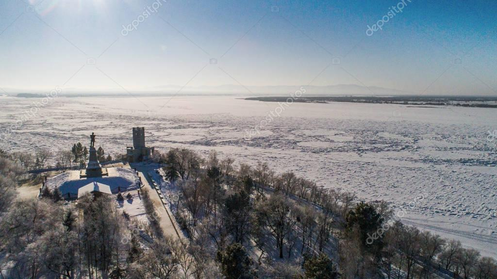 Khabarovsk.Utes . the view from the top .winter . the Amur river embankment
