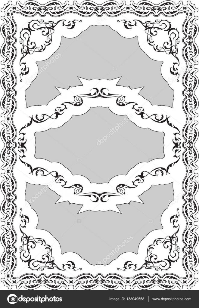 Marco adornado de agradable decoración barroca arte — Archivo ...