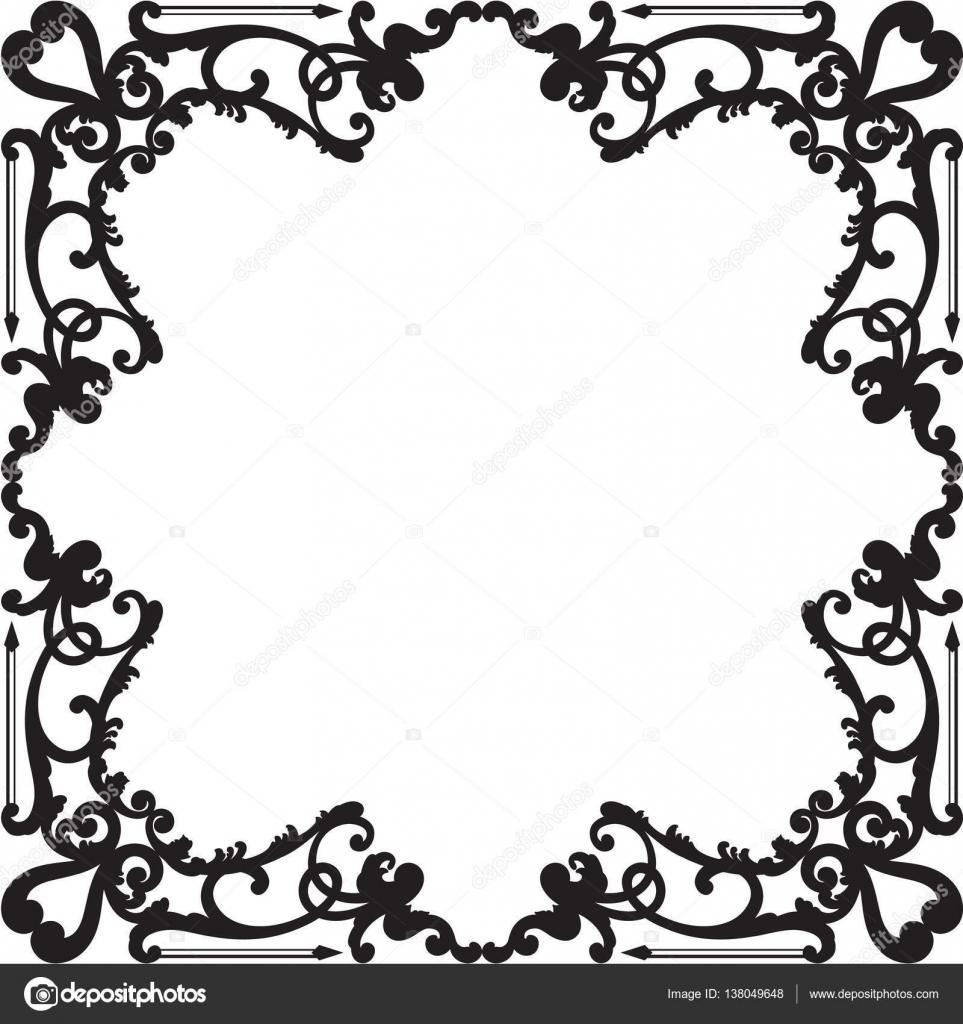 Borde negro barroco recargado — Vector de stock © buravtsoff #138049648