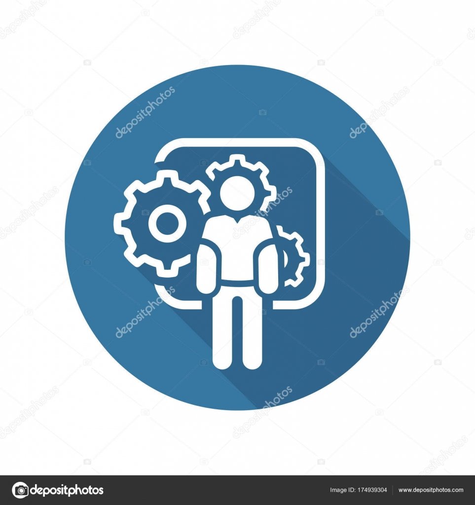 Mechanical Engineering Icon Man And Gears Development Symbol