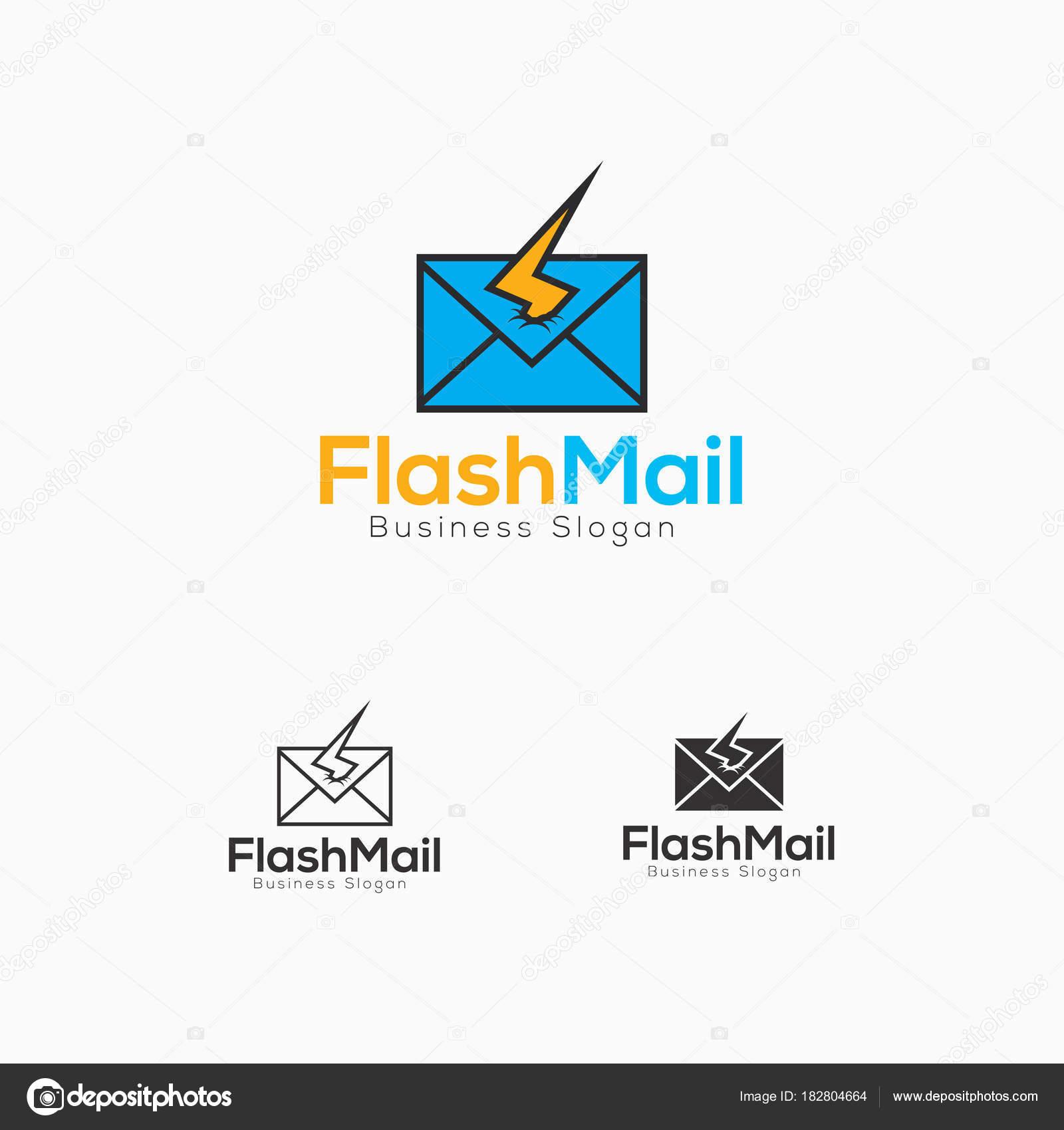 Flash-Mail Logo-Schablone — Stockvektor © ASMARAisME #182804664