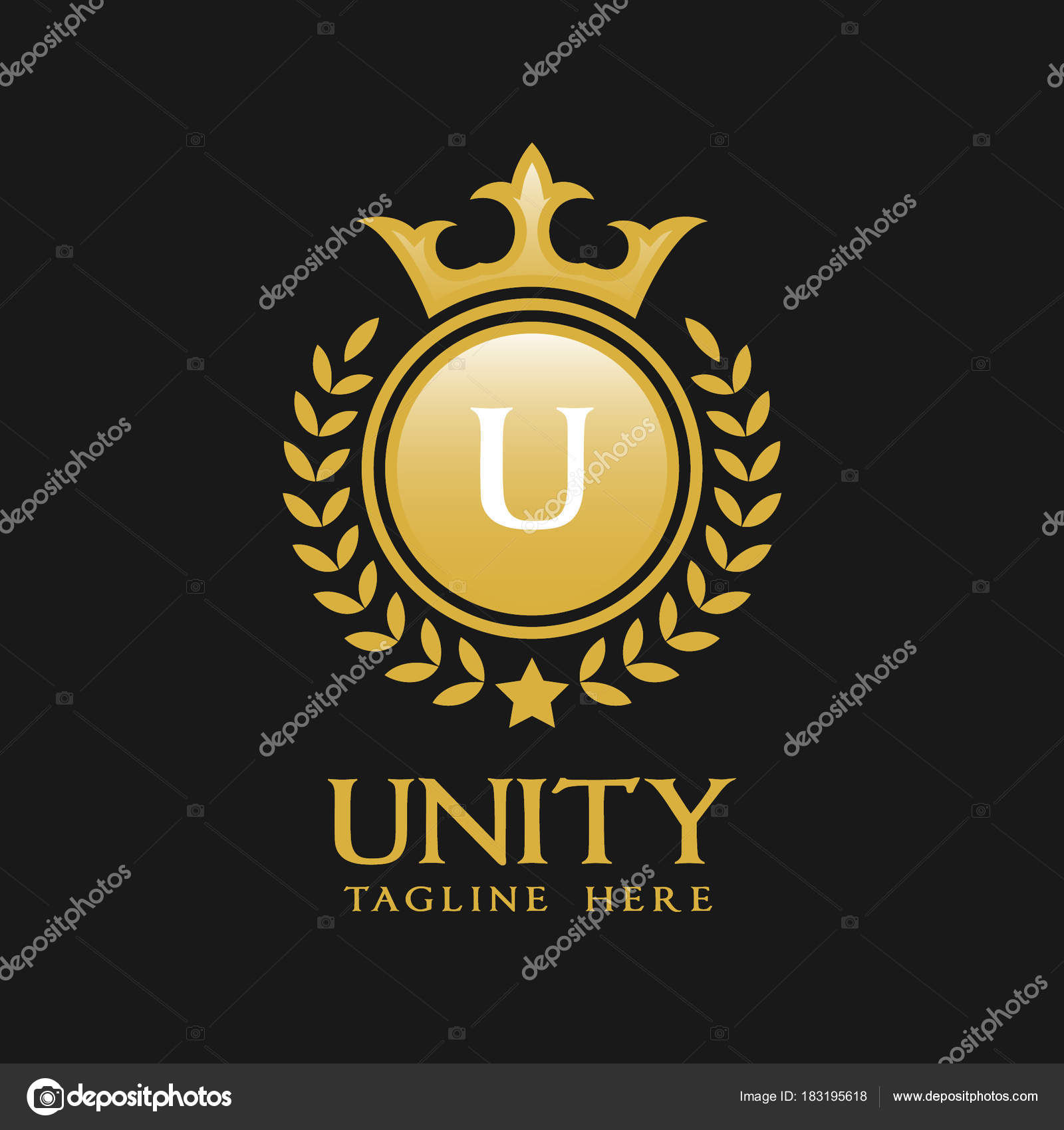 letter u logo classic luxurious style logo template stock vector