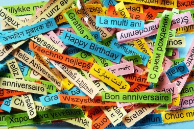 Happy Birthday  on  different languages