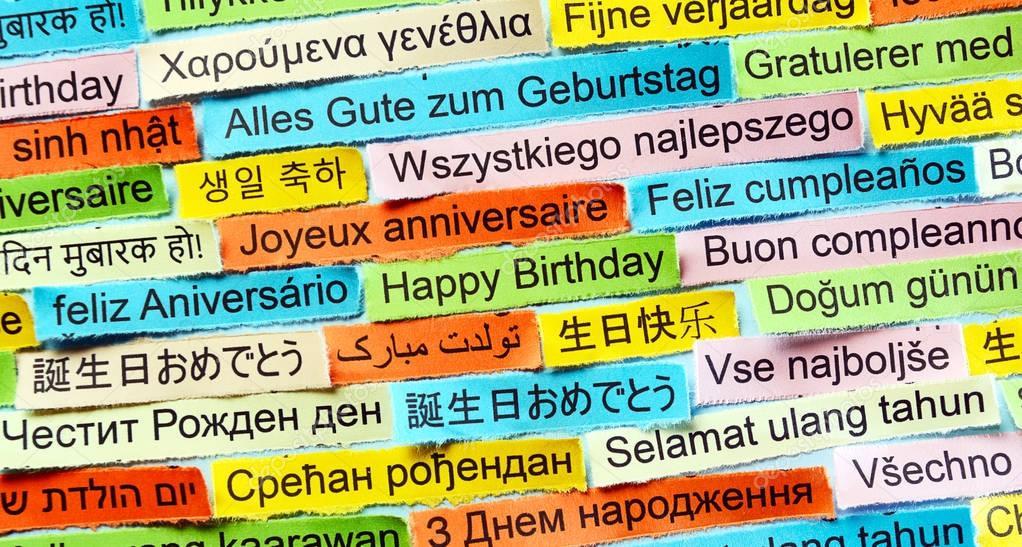 gefeliciteerd talen Happy Birthday op verschillende talen — Stockfoto © ivosar #129080540 gefeliciteerd talen