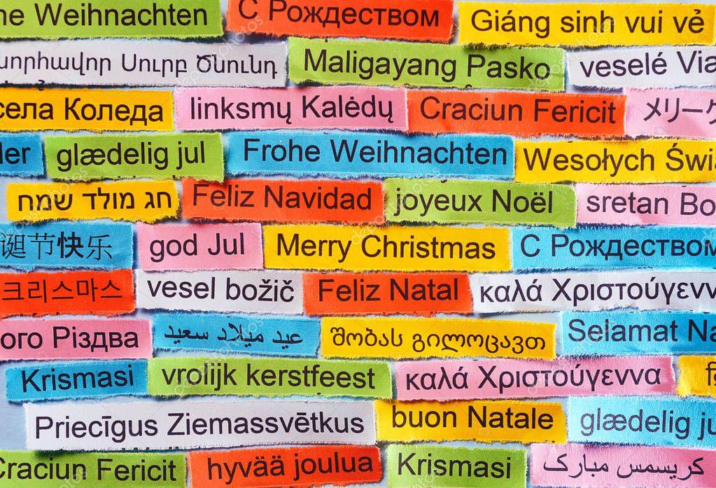 Frohe Weihnachten In Allen Sprachen.Frohe Weihnachten In Verschiedenen Sprachen Stockfoto