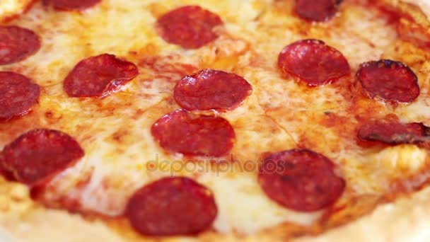 Pepperoni Pizza, Delicious appena cotto, pronto per mangiare, cibo gustoso