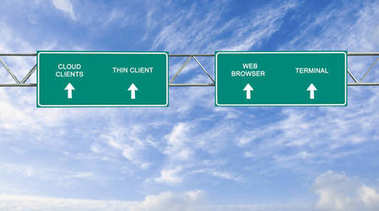 road sign to cloud clients