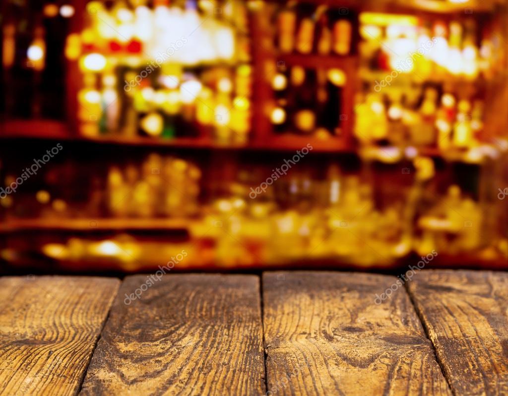 retro wooden desk in a bar