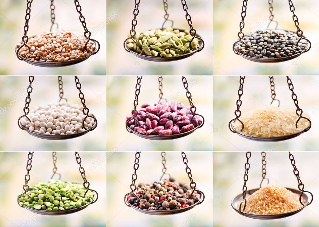 Dried grains, seed and beans in balance scale