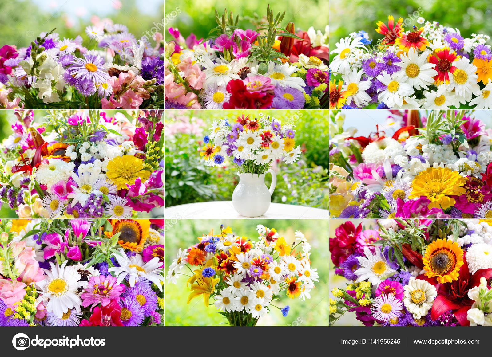collage of bouquets of summer flowers — Stock Photo © Nitrub #141956246