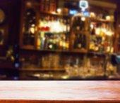 wooden desk in a bar