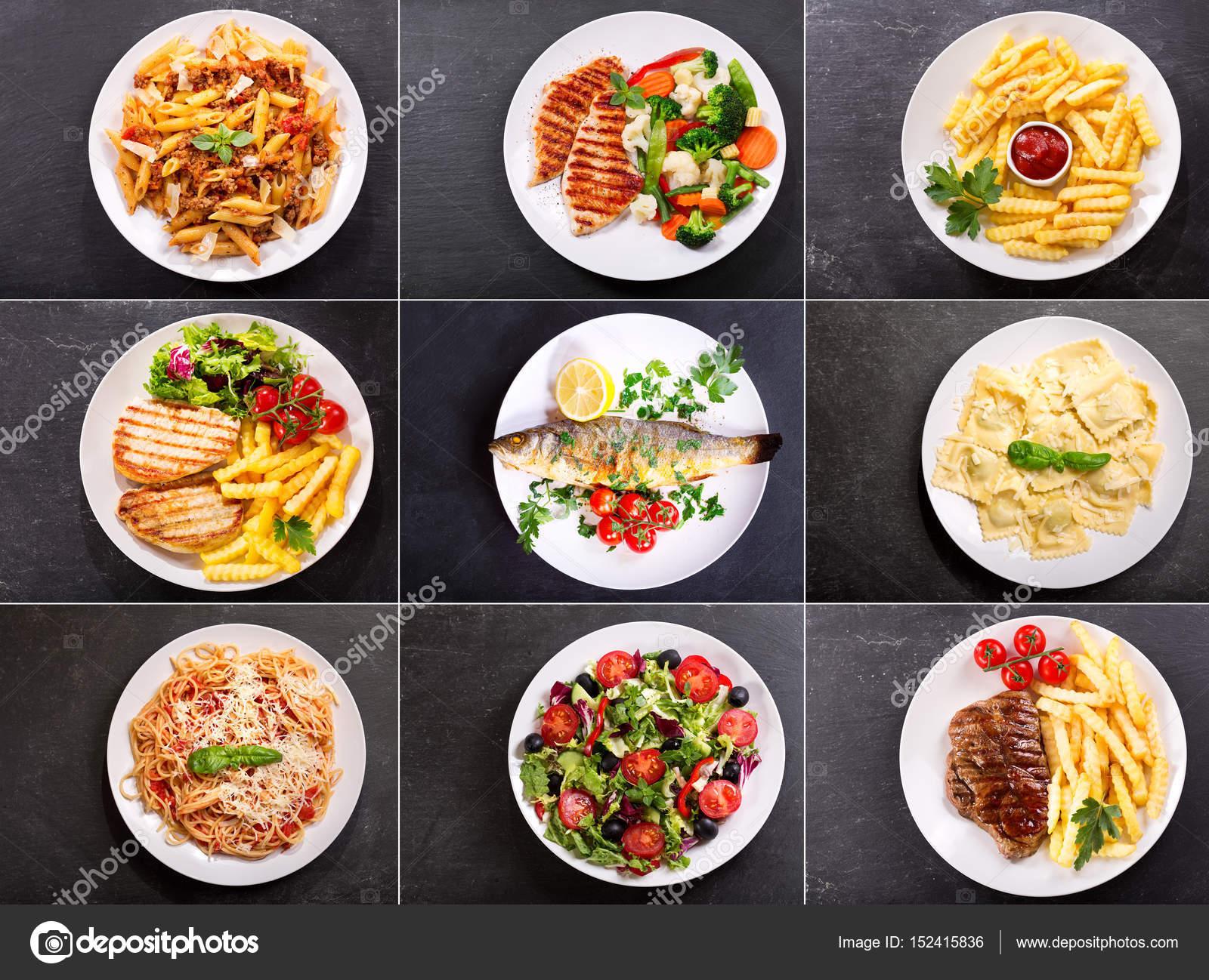 Conjunto de varios platos de comida Fotos de Stock
