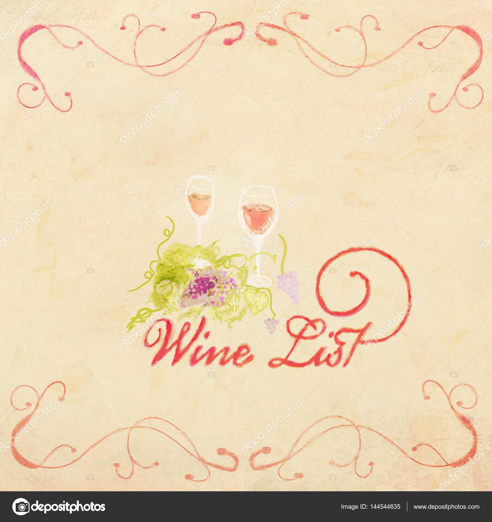 vintage watercolor menu design wine list simple menu design stock